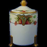 """Fischer & Mieg Pirkenhammer Austria Currant Motif Condiment/Jelly Jar (Signed """"A.M.S.""""/c.1873-1914)"""