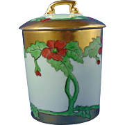 "Tressemann & Vogt (T&V) Limoges Arts & Crafts Poppy Motif Condiment/Jelly Jar (Signed ""Stewart""/Dated 1909)"