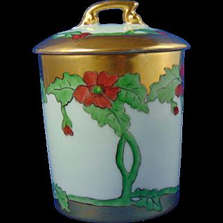 """Tressemann & Vogt (T&V) Limoges Arts & Crafts Poppy Motif Condiment/Jelly Jar (Signed """"Stewart""""/Dated 1909)"""