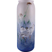 Porcelain Limousine (PL) Limoges Arts & Crafts Shore Birds Motif Vase (c.1905-1930)
