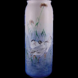 Porcelain Limousine (PL) Limoges Arts & Crafts Shore Birds Motif Vase (c.1905-1930)