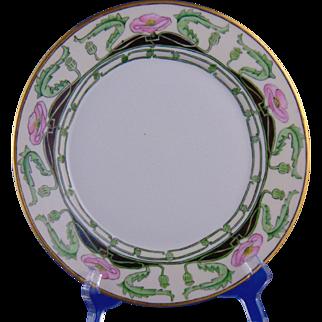 "Haviland Limoges Arts & Crafts Poppy Motif Plate (Signed ""E. Whitelaw""/c.1901-1931)"