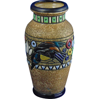 Amphora Austria Arts & Crafts Kingfisher Vase (c.1905-1910)