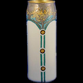 Porcelain Blank Enameled Arts & Crafts Chrysanthemum Motif Vase (c.1910-1930)