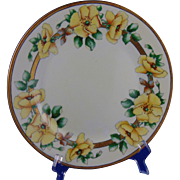 "Porcelain Blank Arts & Crafts Wild Yellow Rose Motif Plate (Signed ""Elsie Della""/c.1920-1940)"