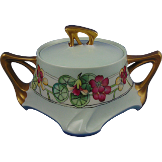 Jean Pouyat (JP) Limoges Arts & Crafts Nasturtium Motif Biscuit Jar (c.1907-1920)