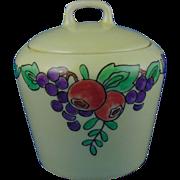 "Paul Mueller (PM) Bavaria Arts & Crafts Fruit Motif Condiment Jar (Signed ""Flo""/Dated 1928)"