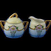 """Krister Porcelain Manufactory (KPM) Germany Arts & Crafts Rose Motif Creamer & Sugar Set (Signed """"M.J. Smeets""""/c.1904-1927)"""