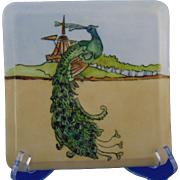 Bavaria Arts & Crafts Peacock Motif Trivet/Plaque (c.1910-1930)