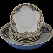 """Bernardaud & Co. (B&Co.) Limoges & Krister Porcelain Manufactory (KPM) Germany Arts & Crafts Dessert Bowl Set (Signed """"A.L.""""/Dated 1919)"""
