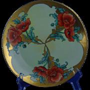 "Hermann Ohme Silesia Poppy Motif Plate (Signed ""Gillfillau""/c.1882-1918)"