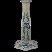 "Lenox Belleek Enameled Bluebird & Floral Motif Candlestick (Signed ""Carrie L. Brown""/Dated 1920)"