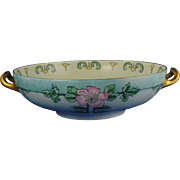 "Haviland Limoges Arts & Crafts Wild Rose Motif Handled Centerpiece Bowl (Signed ""Helene Donaldson""/c.1894-1931)"