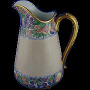 """Porcelain Limousine (PL) Limoges Arts & Crafts Enameled Floral Pitcher (Signed """"G.A.B.""""/c.1905-1930)"""