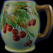 "Lenox Belleek Cherries Motif Tankard/Mug (Signed ""K. Shubert""/c.1906-1924)"