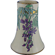 "American Satsuma Arts & Crafts Enameled Wisteria Motif Vase (Signed ""Mearle Beatrice Warner""/Dated 1923)"