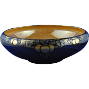 "Willets Belleek Arts & Crafts Silver Overlay, Gold, & Orange Lustre Grape Design Bowl (Signed ""A.M.C.""/Dated 1920)"