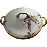Hutschenreuther Selb Bavaria Arts & Crafts Parrot Design Covered Serving Dish (c. 1930's)