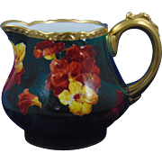 "G. Demartine (GD & Cie) Avenir Limoges Nasturtium Pitcher (Signed ""L. Labassie""/c.1891-1910)"