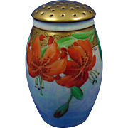 Porcelain Blank Tiger Lily Design Sugar Shaker/Muffiner (Signed by Pickard Artist Frederick Walters/c.1903-1918)