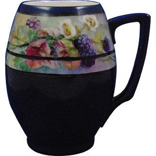 "Rosenthal Bavaria Arts & Crafts Blackberry Motif Tankard/Mug (Signed ""L.S.""/c.1900-1930)"