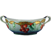 "Johann Haviland Waldershof Bavaria Arts & Crafts Cherries Motif Handled Centerpiece Bowl (Signed ""L. Hardin""/c.1900-1940)"