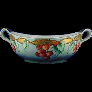 "Johann Haviland Waldershof Bavaria Arts & Crafts Cherries Motif Handled Centerpiece Bowl (Signed ""L. Hardin""/c.1900-1940)"