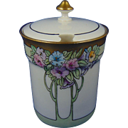 "Lenox Belleek Arts & Crafts Floral Design Condiment Jar (Signed ""A. Booker""/c.1906-1924)"