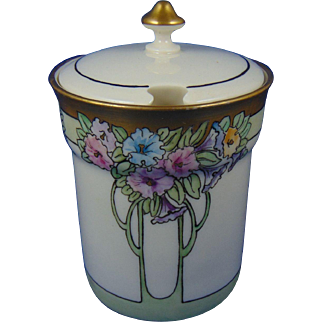 "Lenox Belleek Arts & Crafts Floral Design Condiment Jar (Signed ""A. Booker""/c.1906-1924)"