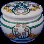 """Lenox Belleek Arts & Crafts Enameled Floral Design Covered Jar (Signed """"L. O'Brien""""/c.1906-1924)"""