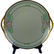 "Tressemann & Vogt (T&V) Limoges Arts & Crafts Floral Motif Handled Plate (Signed ""MFB""/c.1892-1907)"
