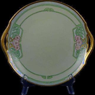 """Tressemann & Vogt (T&V) Limoges Arts & Crafts Floral Motif Handled Plate (Signed """"MFB""""/c.1892-1907)"""