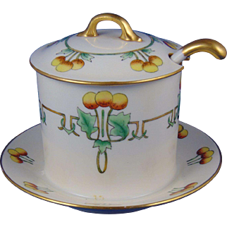 Gerard, Dufraisseix & Abbott (GDA) Limoges Arts & Crafts Fruit Design Condiment Jar Set (c.1900-1941)