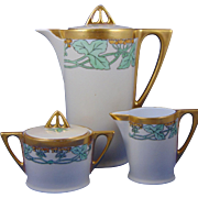 "Favorite Bavaria Arts & Crafts Floral Motif Coffee Pot, Creamer & Sugar Set (Signed ""AAP""/c.1910-1930)"