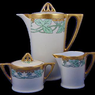 "Favorite Bavaria Arts & Crafts Floral Motif Coffee Pot, Creamer & Sugar Set (Signed ""AAP""/c.1910-1930)"