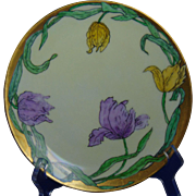 "Thomas Bavaria Arts & Crafts Tulip Motif Plate (Signed "" E.R. Frederick""/c.1908-1930)"