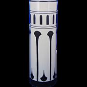"""Lenox Belleek Art Deco Black & White Vase (Signed """"Chierl""""/c.1906-1924)"""