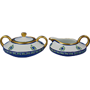"Heinrich & Co. (H&Co.) Selb Bavaria Art Deco Floral Creamer & Sugar Set (Signed ""Amy M. Smith""/Dated 1914)"