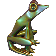 Zsolnay Hungary Modernist Eosin Green Frog Figurine