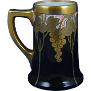 "William Guerin & Co. (WG&Co.) Limoges Pickard Studios ""Metallic Grapes"" Design Tankard/Mug (Signed ""FH""/c.1905-1910)"