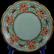 """Moritz Zdekauer (MZ) Austria Arts & Crafts """"Nasturtium Border"""" Design Plate (Signed """"R. Burnite""""/Dated 1910) - Keramic Studio Design"""