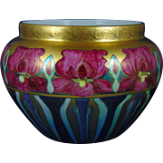 "Large William Guerin (WG&Co.) Limoges Arts & Crafts Iris Lustre Motif Jardinière (Signed ""Mary Lindenberger""/c.1900-1932)"