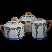 C. Tielsch (C.T.) Altwasser Silesia Arts & Crafts Violet Motif Teapot, Creamer & Sugar Set (c.1900-1934)