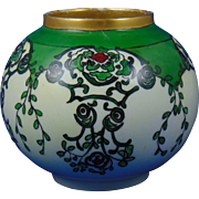 "Paroutaud Freres (P&P) La Seynie Limoges Arts & Crafts Floral Motif Vase (Signed ""A.J.M. ""/Dated 1914)"