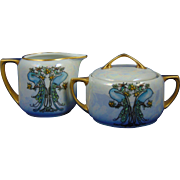 Moritz Zdekauer (MZ) Austria Lustre Peacocks & Fruit Motif Creamer & Sugar Set (c.1884-1909) - Keramic Studio Design