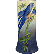 "Bernardaud & Co. (B&Co.) Limoges Blue Bird Vase (Signed ""Ormiston""/c.1914-1930)"