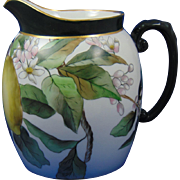"Tressemann & Vogt (T&V) Limoges Dorique Lemon Motif Pitcher (Signed ""J.G.W.""/Dated 1891)"