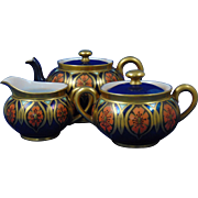"Bernardaud & Co. (B&Co.) Limoges Art Deco Floral Teapot, Sugar & Creamer Set (Signed ""L. Seaman""/Dated 1918)"