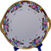 "Jaeger & Co. (JC) Bavaria Arts & Crafts Floral Design Handled Plate (Signed ""M.B.""/Dated 1922)"