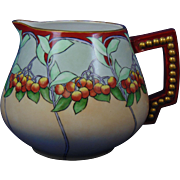 "Porcelain Blank Arts & Crafts ""Mountain Ash"" Design Pitcher (Signed ""E.M. Gwen Koer""/c.1905-1940) - Keramic Studio Design"